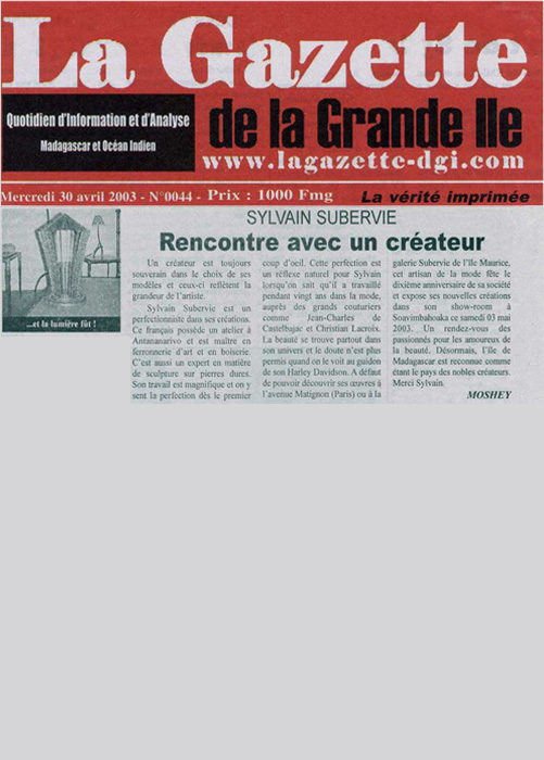 La Gazette Avril 2003